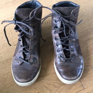 All saints size 7 leather brown high tops